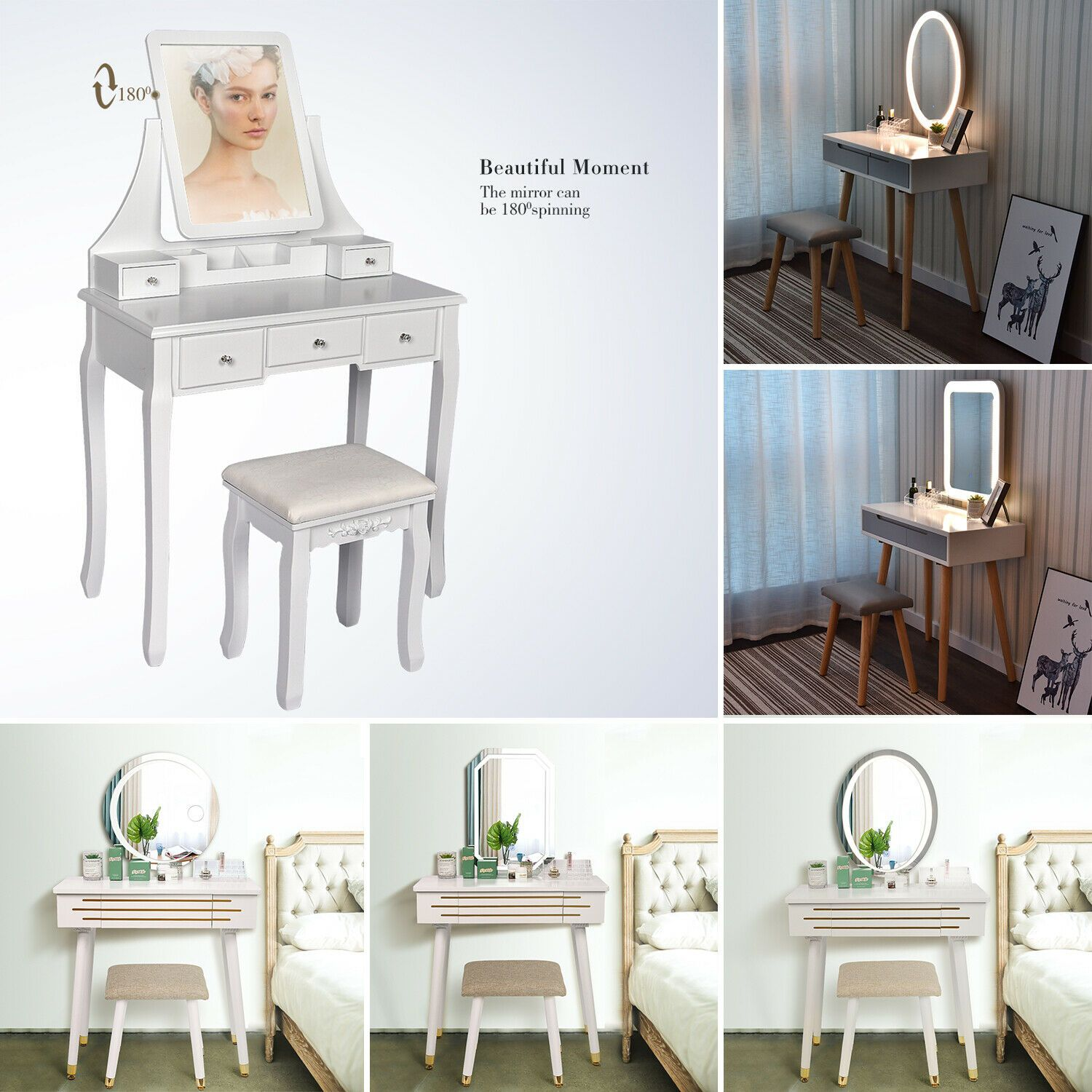 Details about Led Mirror Makeup Vanity Table Dressing