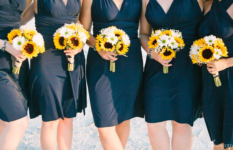 Navy Blue Bridesmaid Dresses And Sunflower Bouquets Bridal