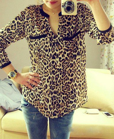 54734b3fc27c01 Single-Breasted Leopard Print Long Sleeve Stand-Up Collar Women s Shirt