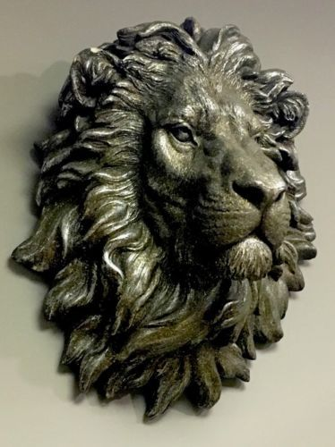 Large bronze effect handsome lion head bust wall art sculpture vintage retro new wall hangings