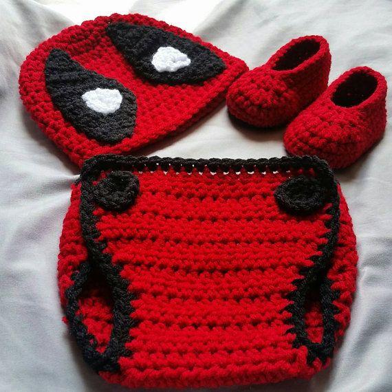 Crochet Deadpool Costume By Daisymaesboutique331 Etsy Crochet Baby Costumes Crochet Diaper Cover Crochet For Boys