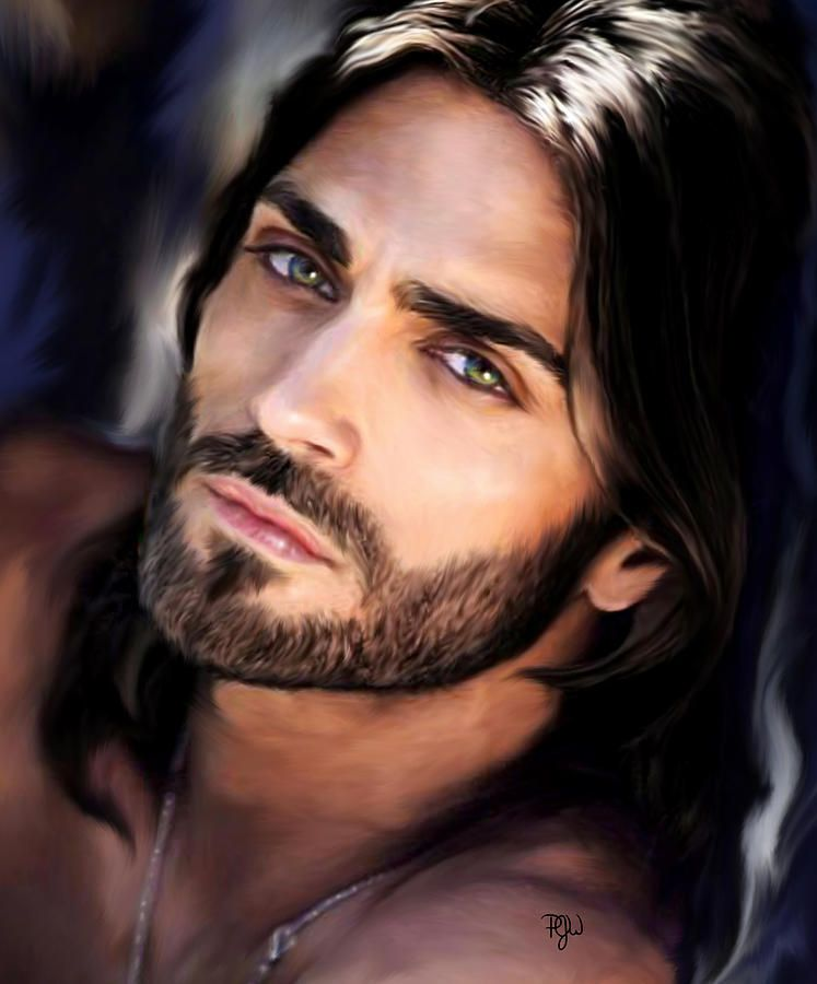 Digital Painting By The Amazing Pamela Whyman Beautiful Men Faces Just Beautiful Men Long Hair Styles Men