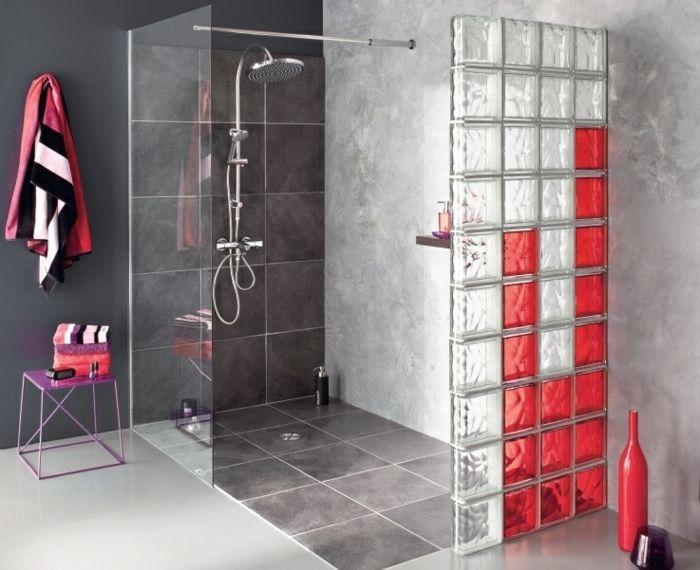 douche à lu0027italienne briques en verre Salle de bains Pinterest