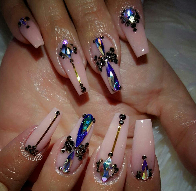 Blue glitter ombr 233 stiletto nails - Creative Nails