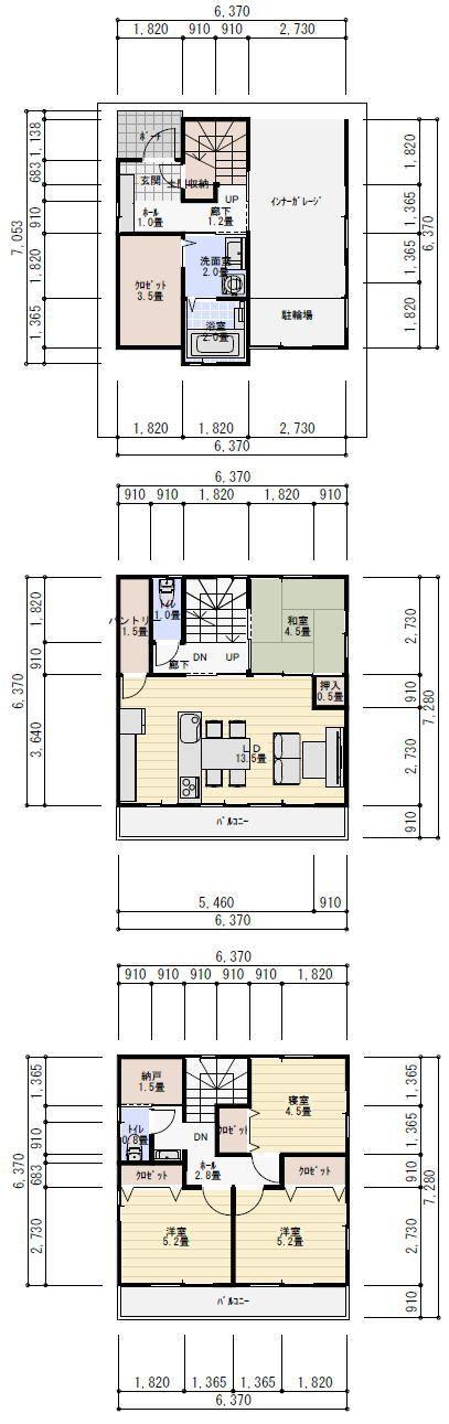三階建て 間取り   理想の間取り   Идеи   Floor plans, Garage house і ...
