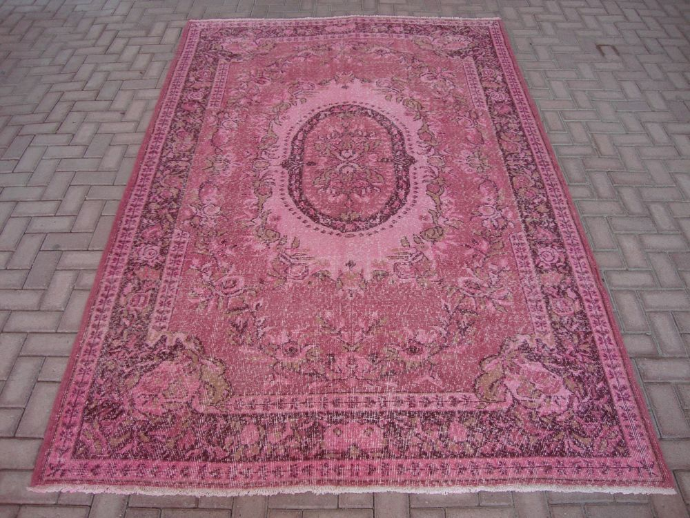 Overdyed Rug Vintage Soft Pink Like Love Oriental Ushak Up Carpet