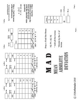 M A D Coloring Worksheet (Mean Absolute Deviation) with