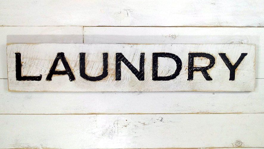 Amazon Com Laundry Sign Carved In A Cypress Board Rustic