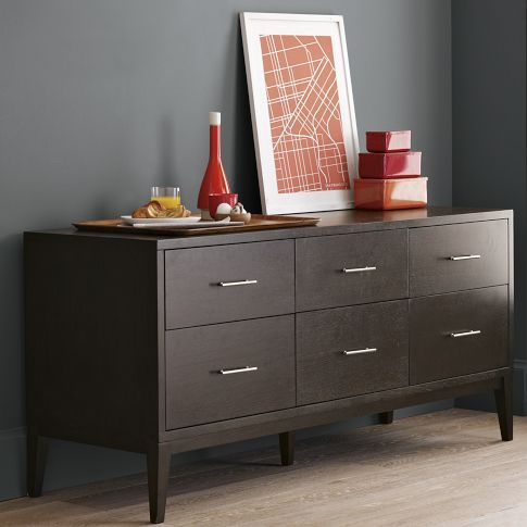 Narrow Leg 6 Drawer Dresser Low Dresser Furniture Modern Bedroom Furniture