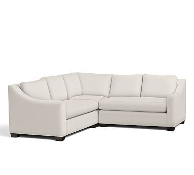York Slope Arm Upholstered 3-Piece L-Shaped Corner Sectional, Down Blend Wrapped Cushions, Sunbrella(R) Performance Boss Tweed Ecru