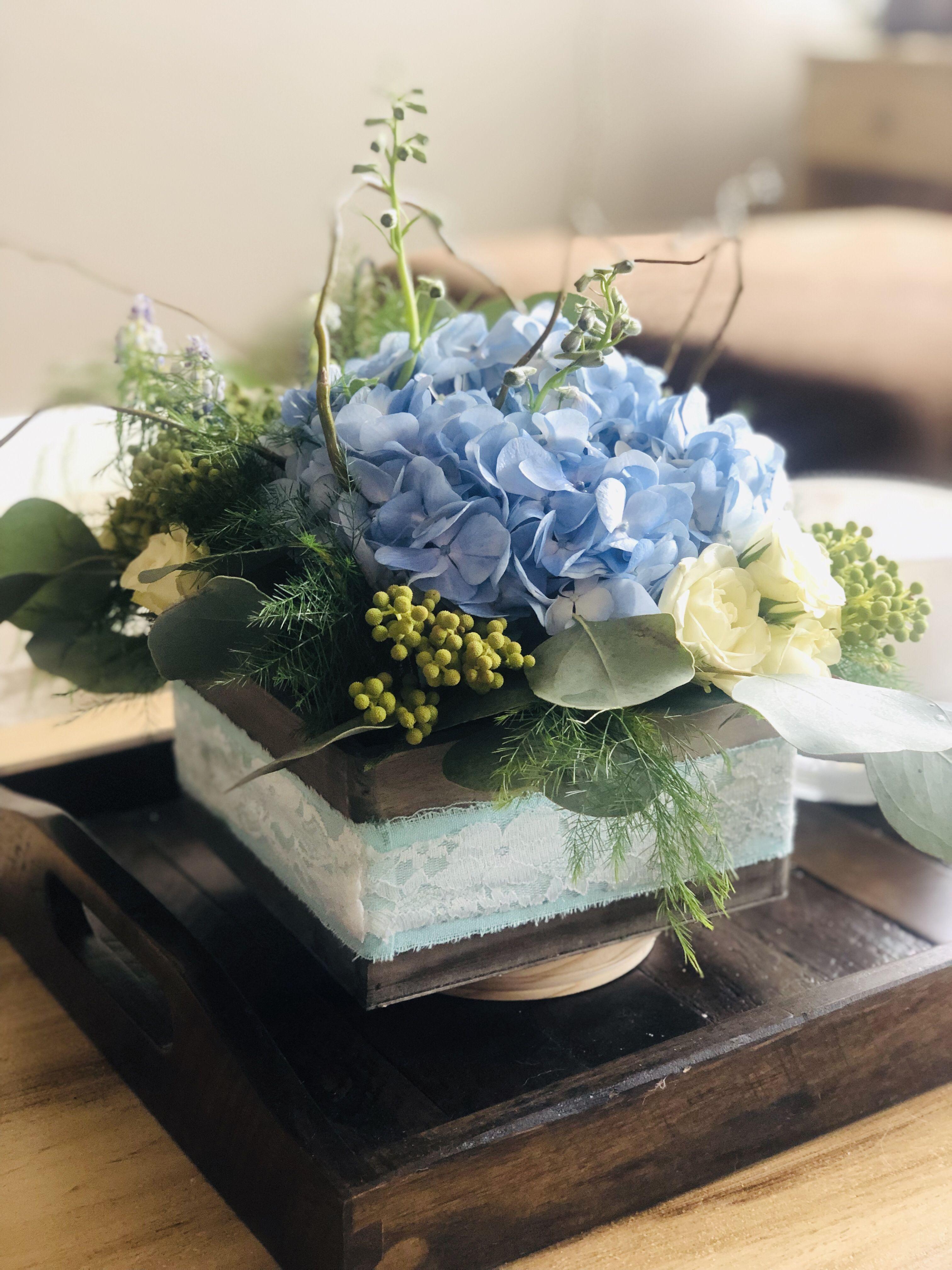 Blue Hydrangea, Blue Muscari, White Spray Roses, Brunia