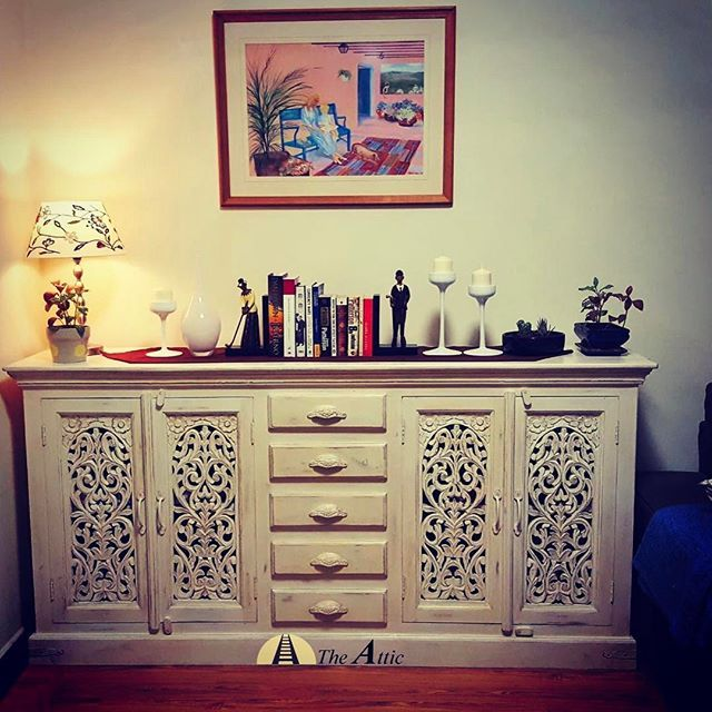 Distressed White Carved Wooden Cabinet Use As A Sideboard Or Dresser