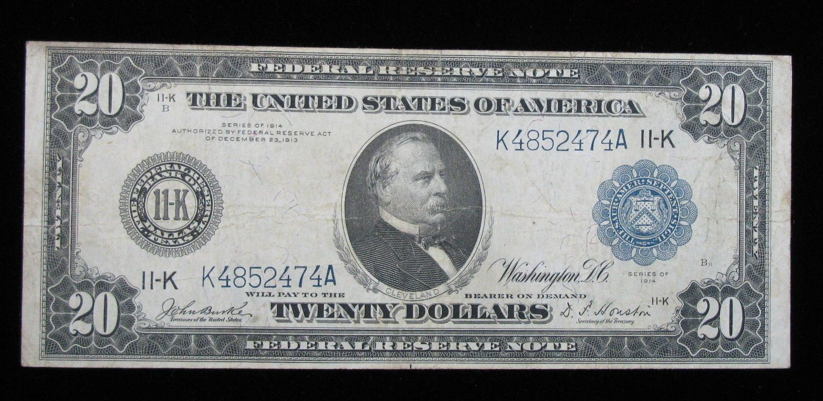 1914 20 Blue Seal Federal Reserve Note Dallas Texas Us