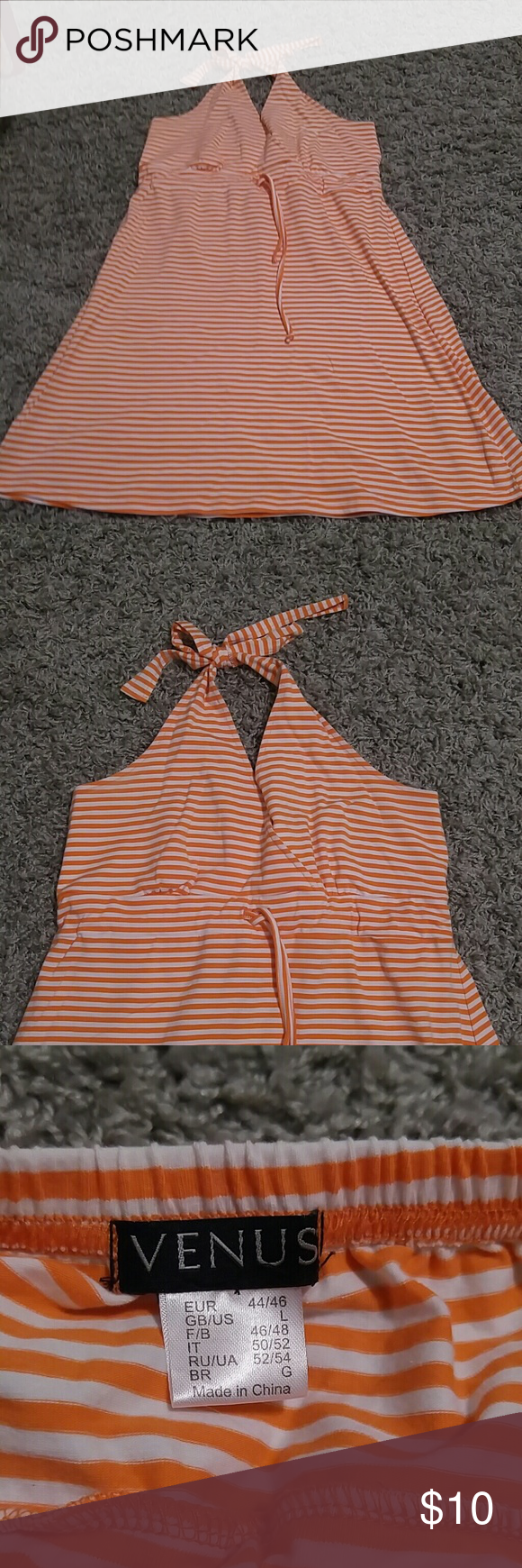 Cute beach dress/cover up White and orange. Size large perfect for a day at the beach! venus Dresses