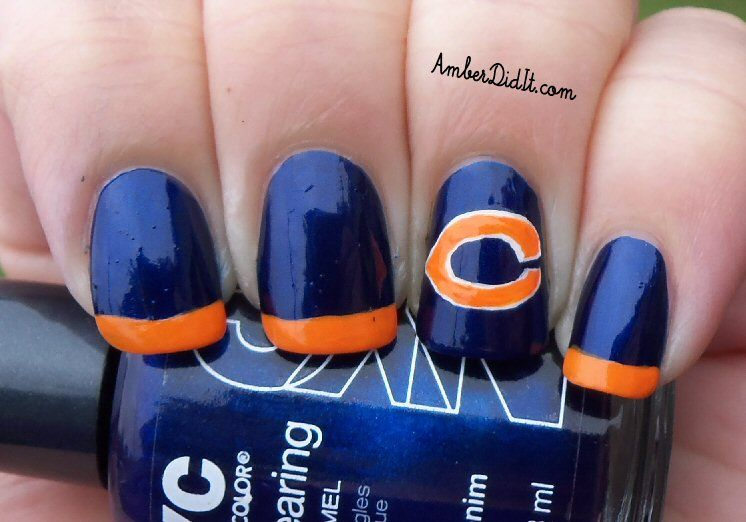 Amber did it!: NFL Nail Art Series #5 ~ Chicago Bears | nails ...