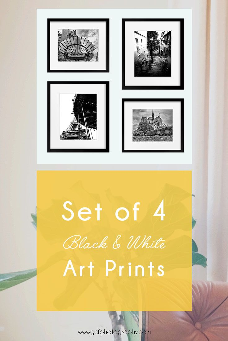 Set of 4 Paris Prints, Black and White Art, Paris Photography for ...