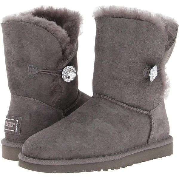 UGG Bailey Button Bling (Grey) Women's Boots ($110) ❤ liked on Polyvore
