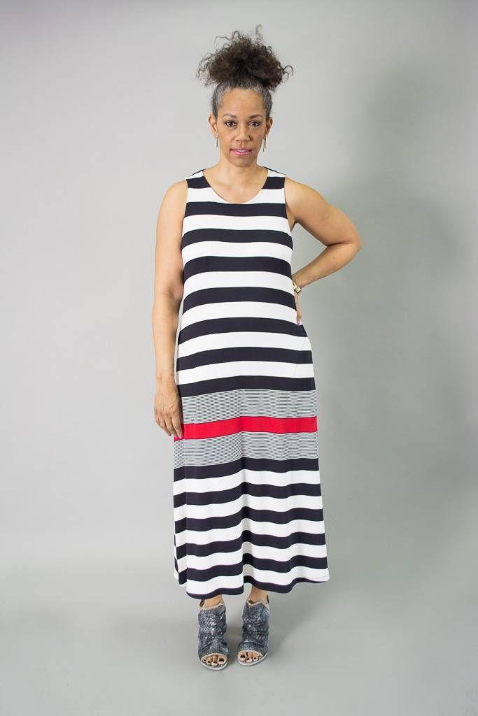 8bda4433e7c5ea Blended stripe maxi dress with high neckline, wide tank straps, slit  pockets on a