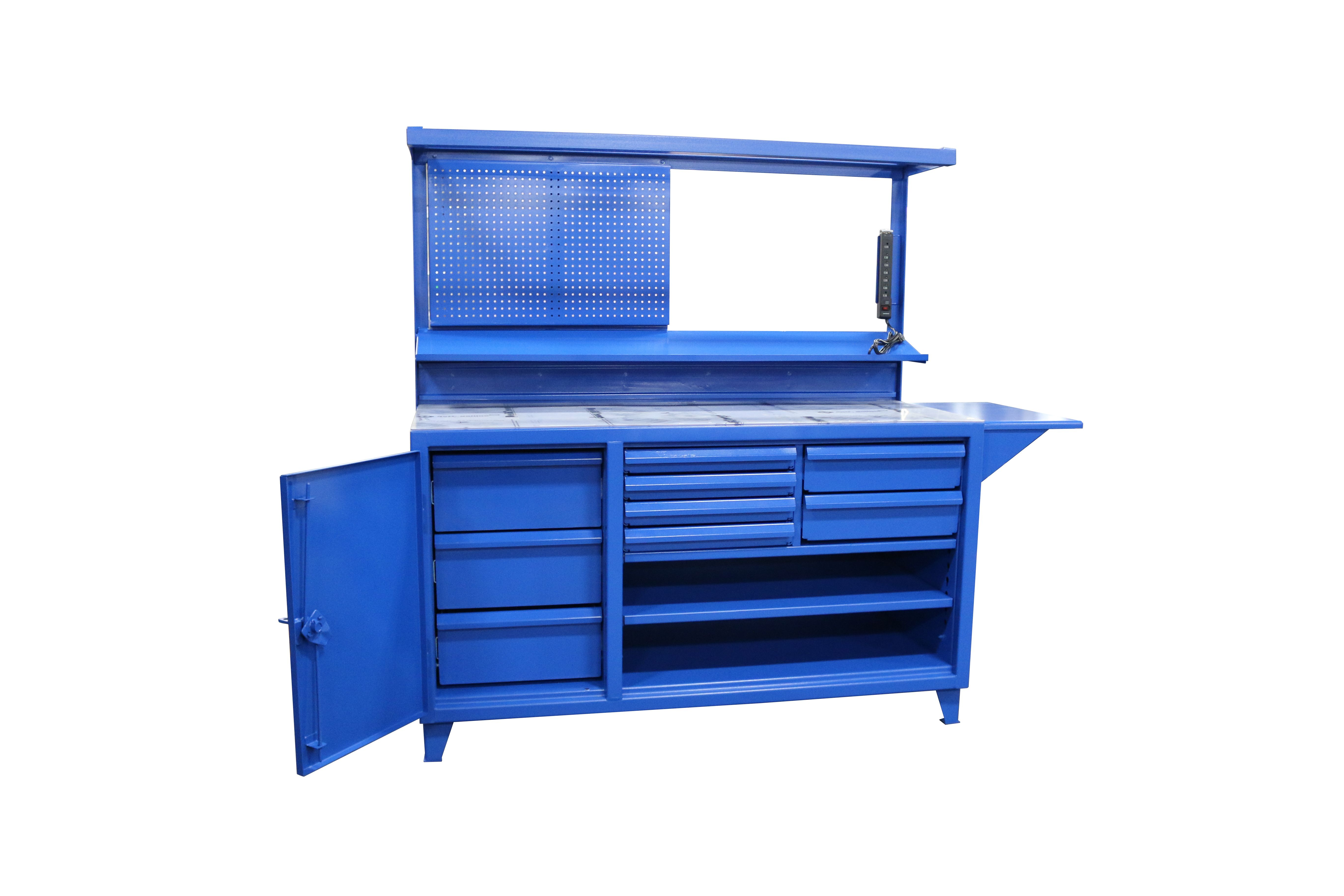 Fabulous This Custom Electric Blue Workbench Features A Half Overhead Machost Co Dining Chair Design Ideas Machostcouk
