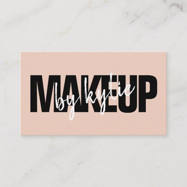 Makeup artist bold typography script blush pink business card