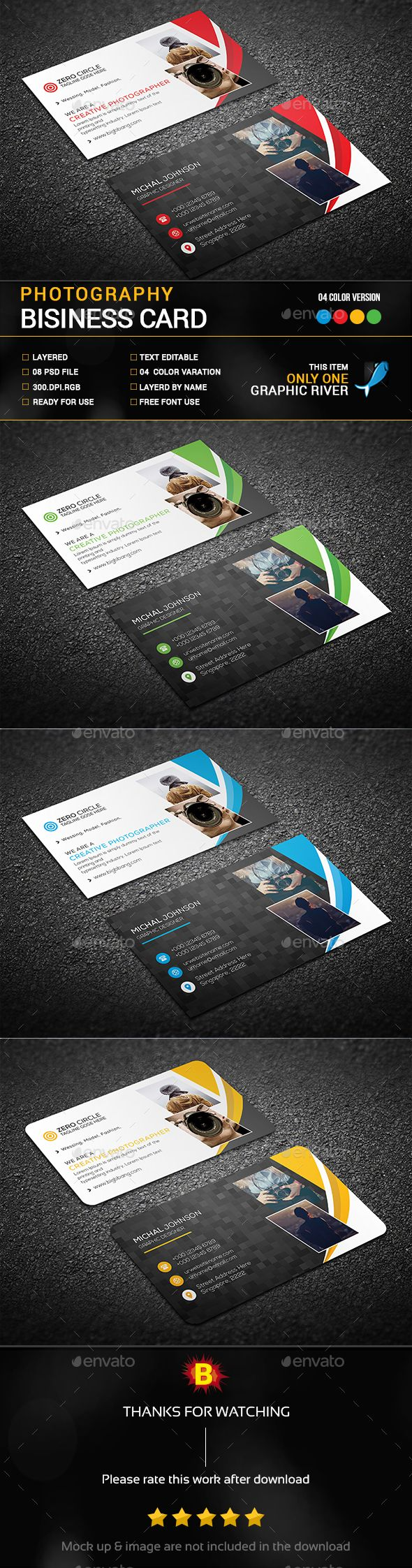 Photography Business Card Template PSD. Download here: https ...