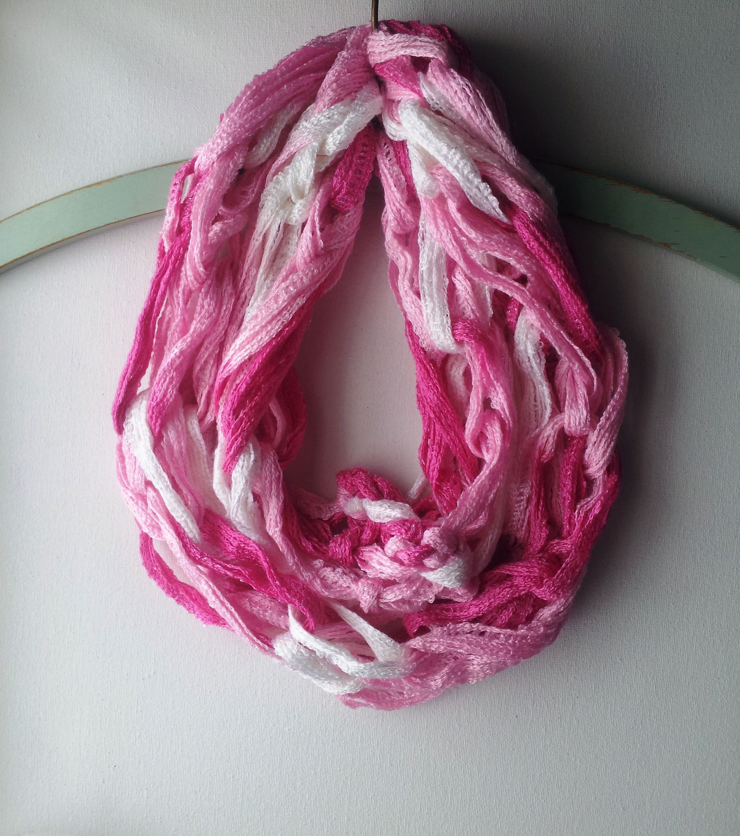 Pink Shades Mesh Yarn Made Into A Hand Knitted Infinity Scarf My