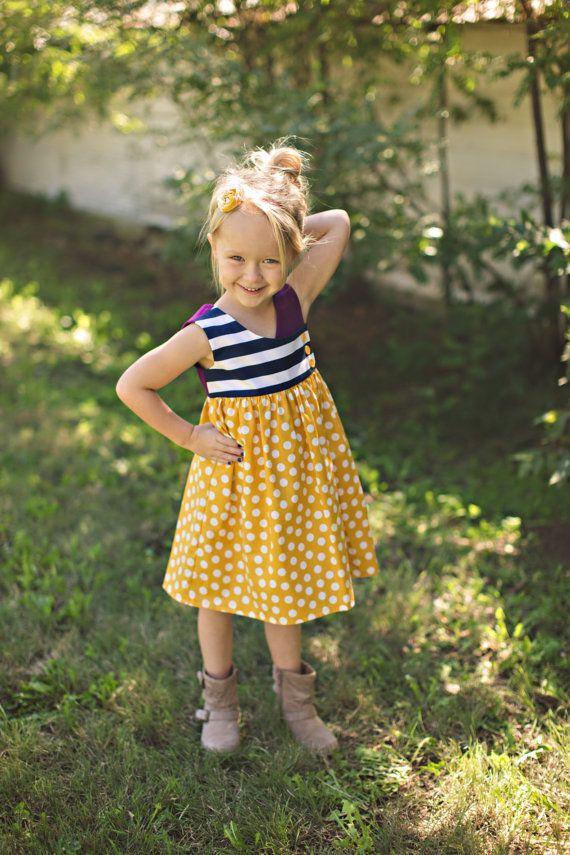 Plum Mustard Navy Stripe Fall Dress Baby Girl Toddler Girl Big