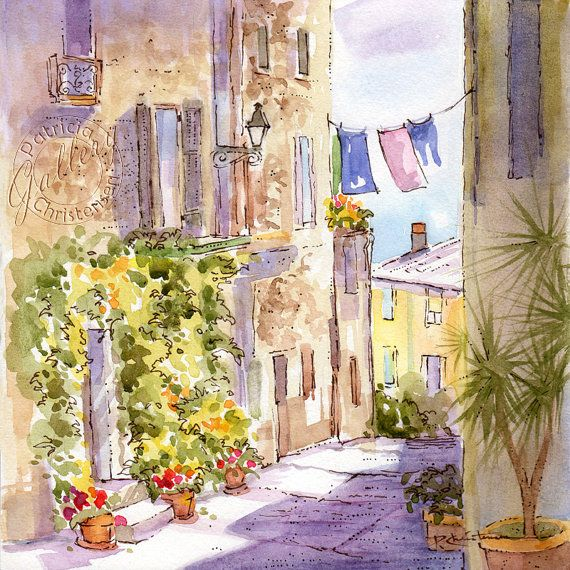 Provence Street Scene France Original Watercolor Aquarell Schatten