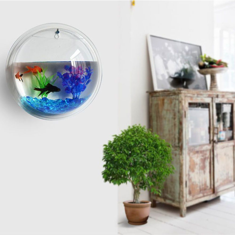 Wall Hanging Bubble Bowl Plant Fish Tank Acrylic Aquarium Home ...