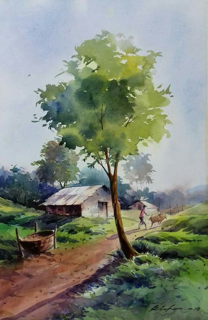 Original Watercolour Landscape Painting Across The Top Annabel