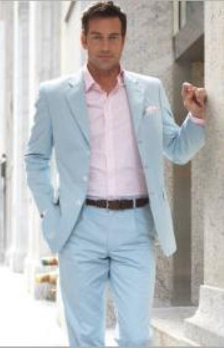 SKU#PG14 3 Button Style Sky Blue (Powder blue) Suit $159 Fashion ...