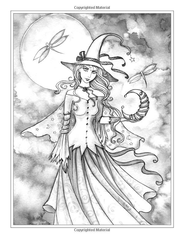 Autumn Magic Grayscale Coloring Page Witch Coloring Pages Grayscale Coloring