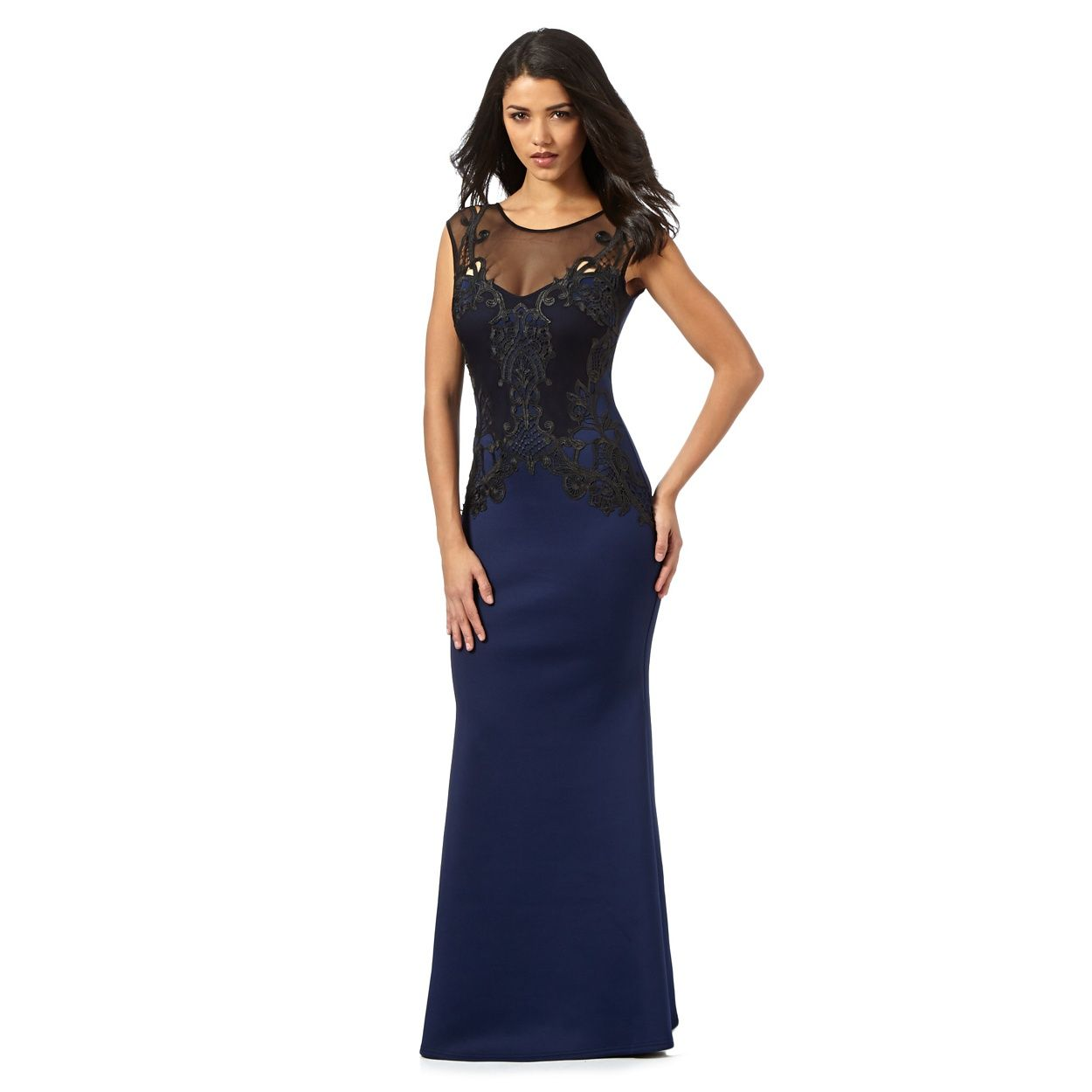 Lipsy navy lace maxi dress at wedding for Navy maxi dresses for weddings