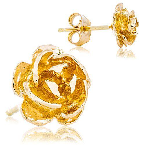 Solid 14k Yellow Gold Rose Flower Petal Earrings Supercute Delicate Design For Women 70mm Width Want To Kno 14k Yellow Gold Solid Gold Earrings Yellow Gold