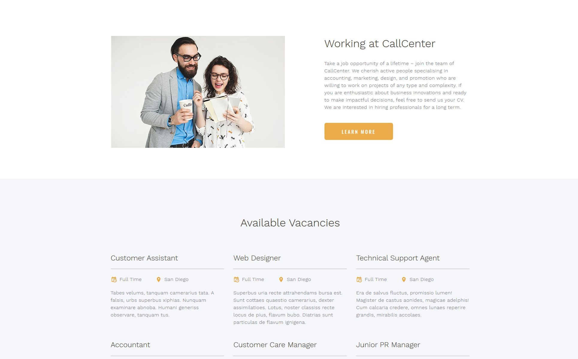 Call Center Multipage Html5 Website Template Call Center Website Creation