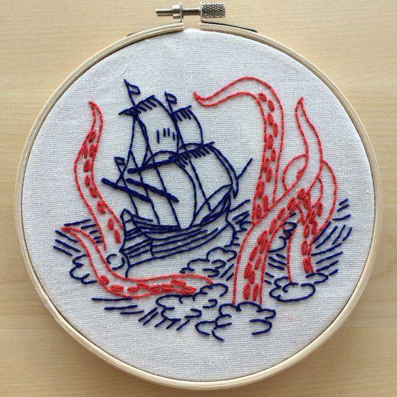 Fabric Embroidery Kit: Release the Kraken ocean theme, boat, ship, octopus, tentacles, squid, nautical, maritime, beach, seaside, kraken #paperpatterns