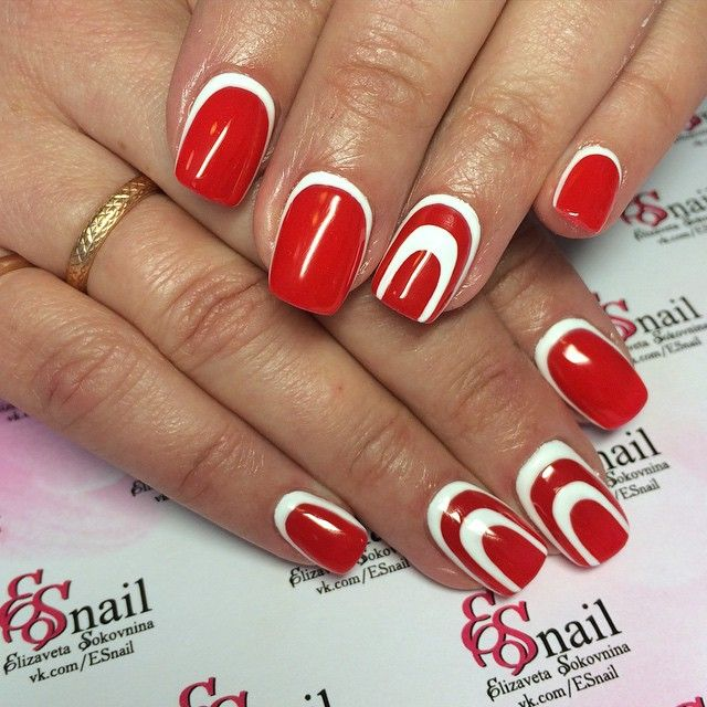 red nail art, Instagram media by elizabeth_sokovnina