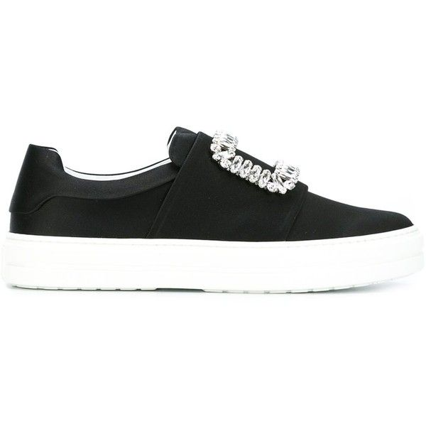 Roger Vivier Satin Miss Viv Sneakers (8.655 NOK) ❤ liked on Polyvore featuring shoes, sneakers, black, black shoes, slip on shoes, roger vivier shoes, pull on shoes and satin shoes