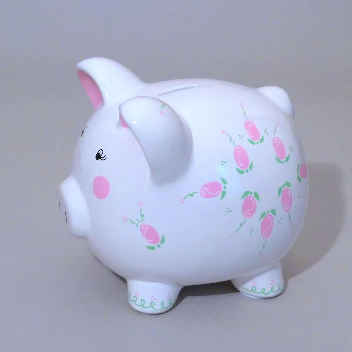 Large rosebud piggy bank is a classic gift for a baby girl its large ceramic piggy bank is hand painted with delicate rosebuds and personalized with babys name at neat stuff gifts negle Images