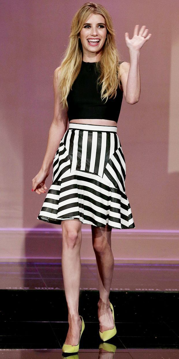 Three Floor Rebel Black and White Striped Flare Skirt in Faux Leather Celebrity | eBay