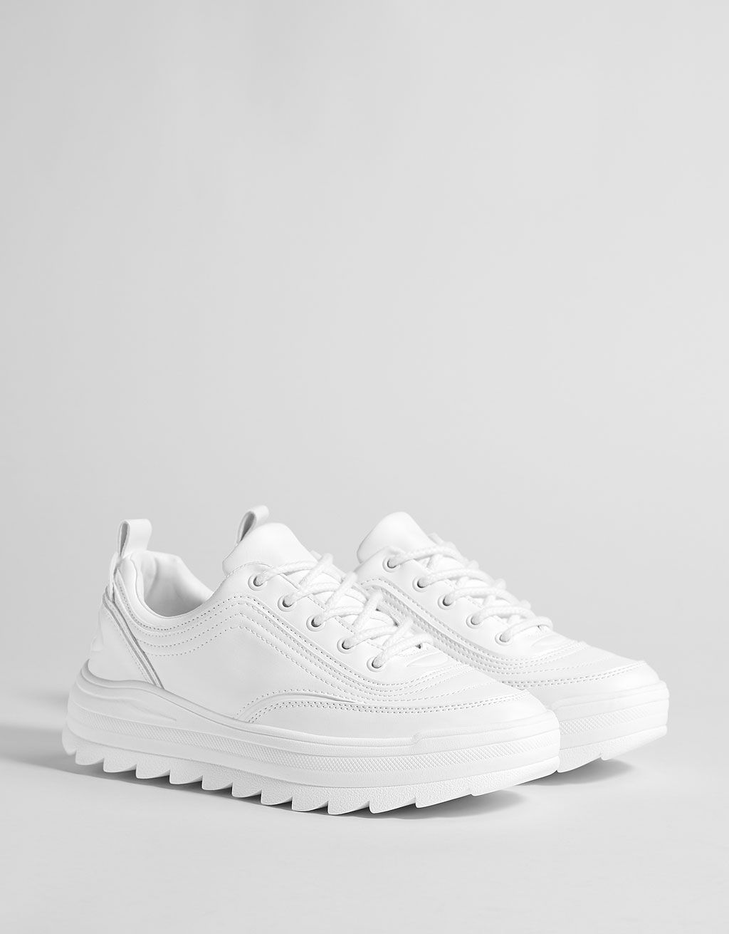e4e61c2653b15 White platform sneakers. Discover this and many more items in Bershka with  new products every week