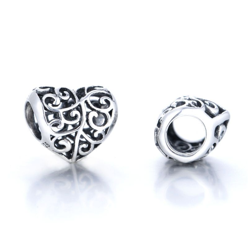 SC Openwork Heart Charm Bead S925 Sterling Silver Gift Packing Included  | eBay