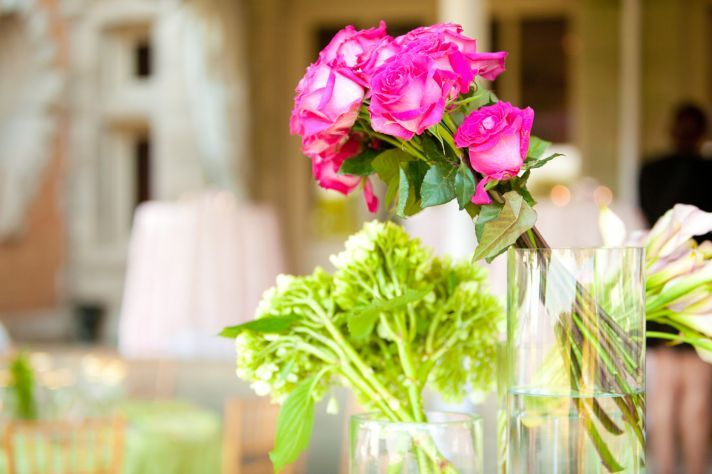 hot pink and lime green flowers