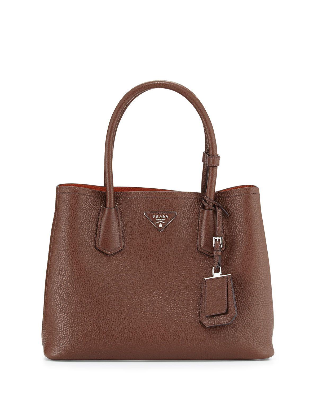 fa4abc6a024cee Prada Vitello Daino Small Double Bag, Brown/Tan (Bruciato/Rame), Size: S