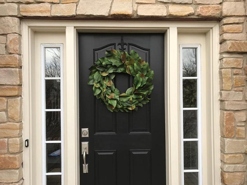 Photo of Realistic magnolia wreath, artificial magnolia wreath, magnolia leaf wreath, wreath magnolia leaves, year-round magnolia, year-round wreath