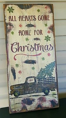 Primitive folk art wood sign All hearts come home for Christmas in Antiques, Primitives | eBay