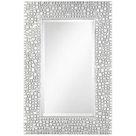 Savla Textured Relief Silver 24 X 36 Wall Mirror T9616 Lamps Plus Mirror Design Wall Framed Mirror Wall Mirror Wall Bedroom