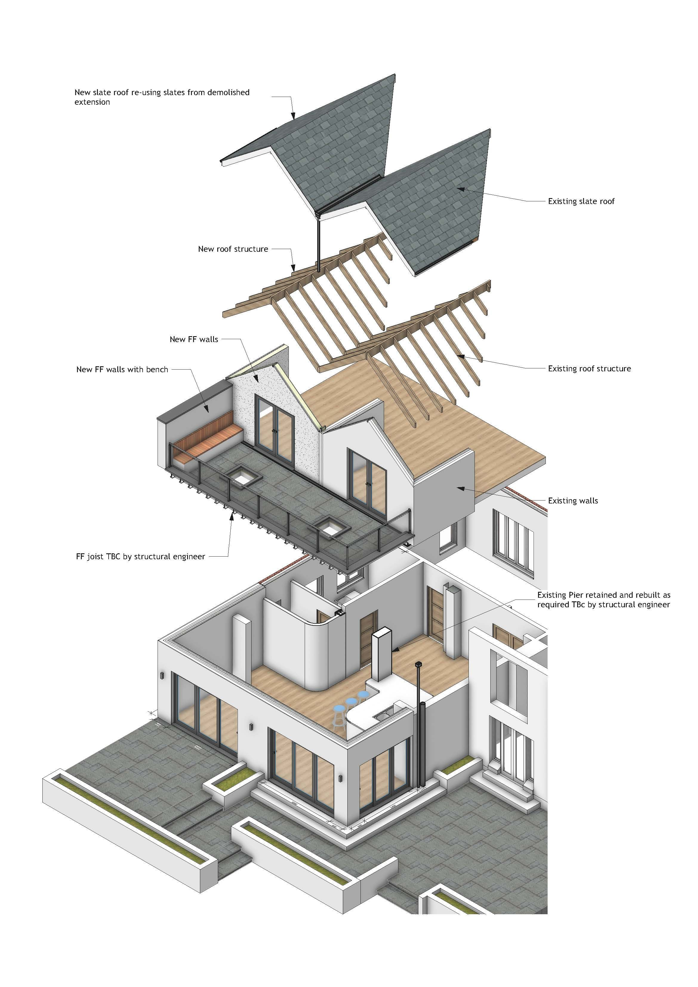 Exploded Isometric Of A Two Storey House Extension Designed By JRA ...