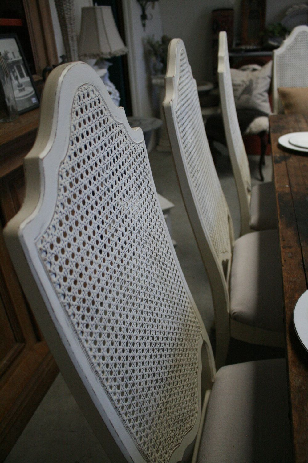 Louis cane back dining chair set of 2 ballard designs - Set Of 6 Vintage Cane Back Dining Chairs Creamy White Linen French Country Reserved