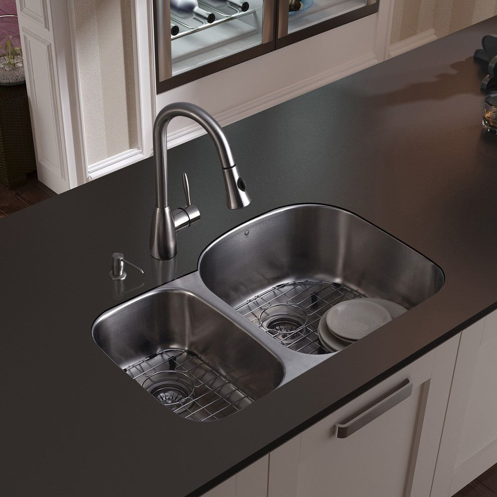 Braddock 32 L X 21 W Double Basin Undermount Kitchen Sink With Faucet Grid Strainer And Soap Dispenser Kitchen Sink Design Sink Contemporary Kitchen Sinks